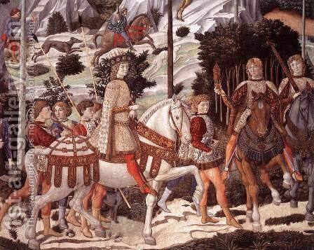 Procession of the Youngest King (detail 3) 1459-60 by Benozzo di Lese di Sandro Gozzoli - Reproduction Oil Painting