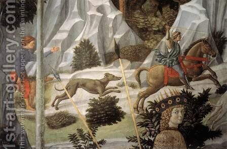 Procession of the Youngest King (detail 10) 1459-60 by Benozzo di Lese di Sandro Gozzoli - Reproduction Oil Painting