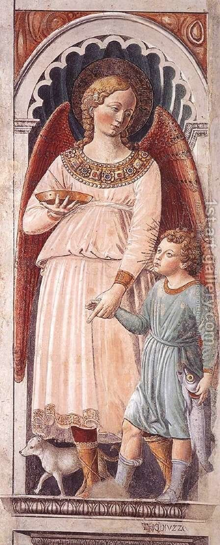 Raphael and Tobias (on the pillar) 1464-65 by Benozzo di Lese di Sandro Gozzoli - Reproduction Oil Painting