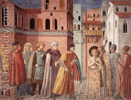 Scenes from the Life of St Francis (Scene 3, south wall) 1452 by Benozzo di Lese di Sandro Gozzoli - Reproduction Oil Painting