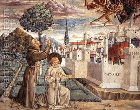 Scenes from the Life of St Francis (Scene 6, north wall) 1452 by Benozzo di Lese di Sandro Gozzoli - Reproduction Oil Painting