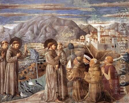 Scenes from the Life of St Francis (Scene 7, south wall) 1452 by Benozzo di Lese di Sandro Gozzoli - Reproduction Oil Painting