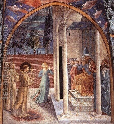 Scenes from the Life of St Francis (Scene 10, north wall) 1452 by Benozzo di Lese di Sandro Gozzoli - Reproduction Oil Painting