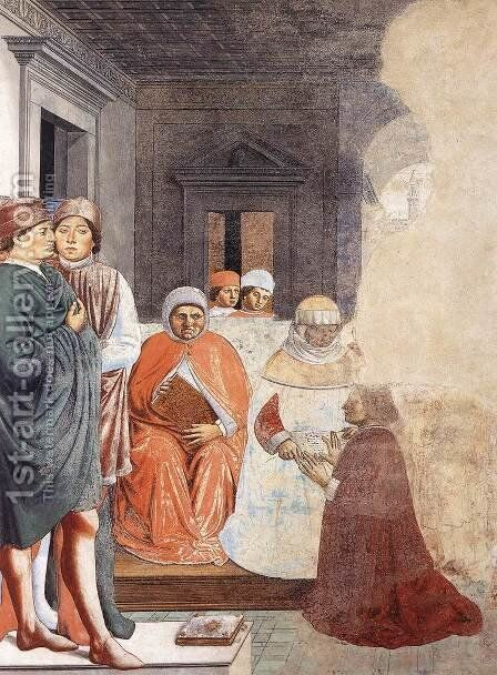 St Augustine at the University of Carthage (scene 2, north wall) 1464-65 by Benozzo di Lese di Sandro Gozzoli - Reproduction Oil Painting