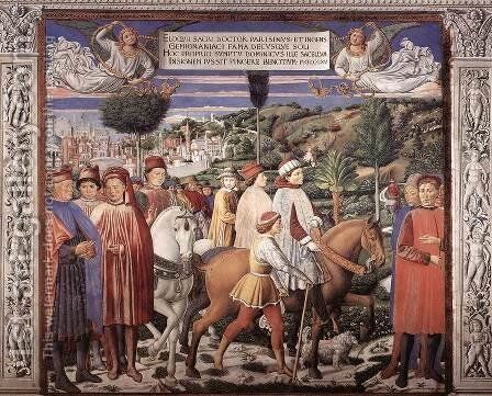 St Augustine Departing for Milan (scene 7, south wall) 1464-65 by Benozzo di Lese di Sandro Gozzoli - Reproduction Oil Painting