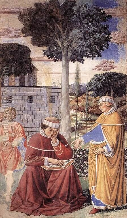 St Augustine Reading the Epistle of St Paul (scene 10, east wall) 1464-65 by Benozzo di Lese di Sandro Gozzoli - Reproduction Oil Painting