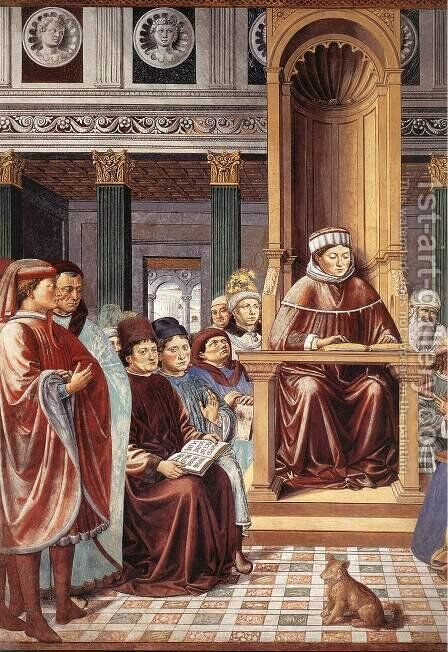 St Augustine Teaching in Rome (detail) 1464-65 by Benozzo di Lese di Sandro Gozzoli - Reproduction Oil Painting