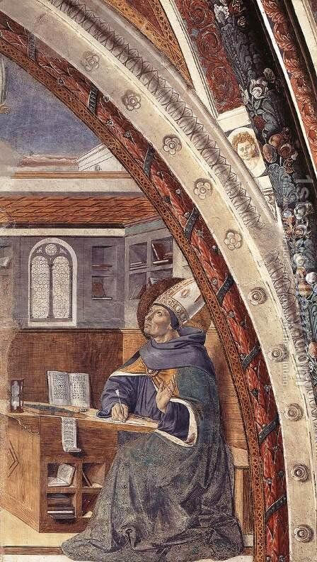 St Augustine's Vision of St Jerome (scene 16, east wall) 1464-65 by Benozzo di Lese di Sandro Gozzoli - Reproduction Oil Painting