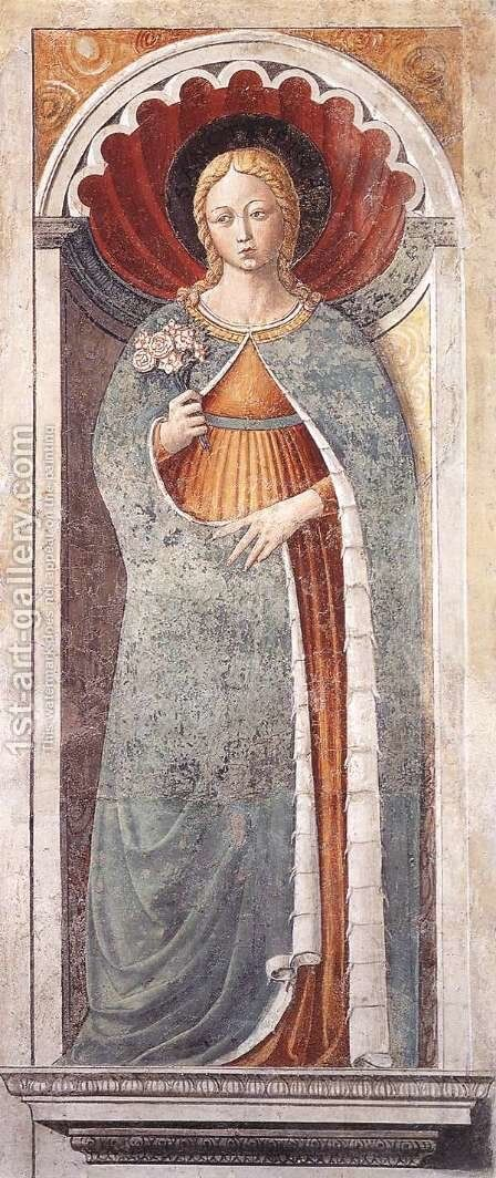 St Fina (on the pillar) 1464-65 by Benozzo di Lese di Sandro Gozzoli - Reproduction Oil Painting