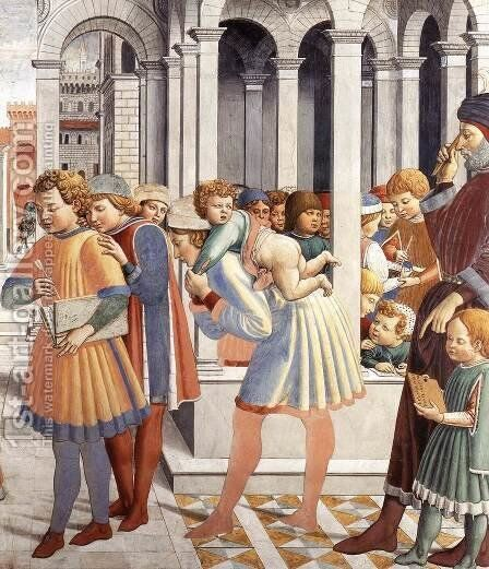 The School of Tagaste (detail) 1464-65 by Benozzo di Lese di Sandro Gozzoli - Reproduction Oil Painting