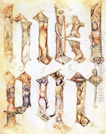 Gothic letters from a model book 1390 by Giovannino de' Grassi - Reproduction Oil Painting