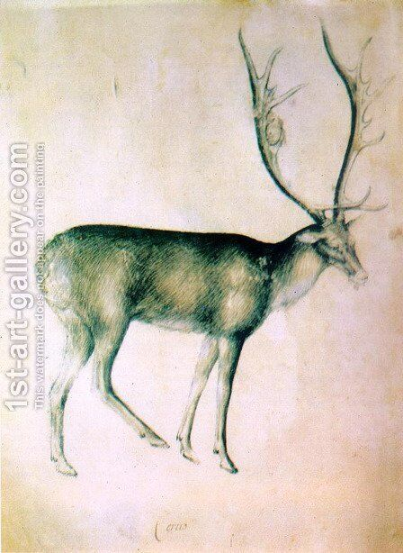 Stag (from a sketch-book) 1380-90 by Giovannino de' Grassi - Reproduction Oil Painting