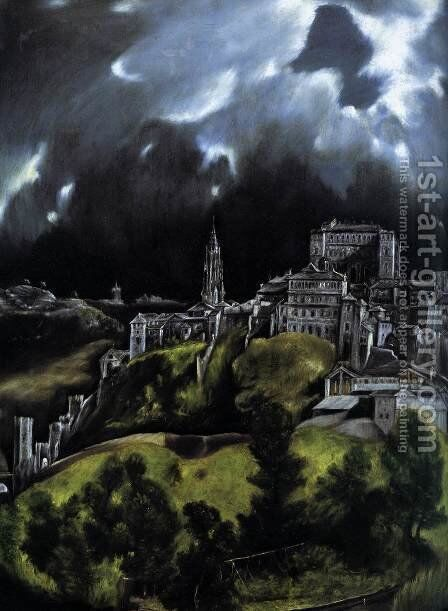 View of Toledo (detail) 1597-99 by El Greco - Reproduction Oil Painting