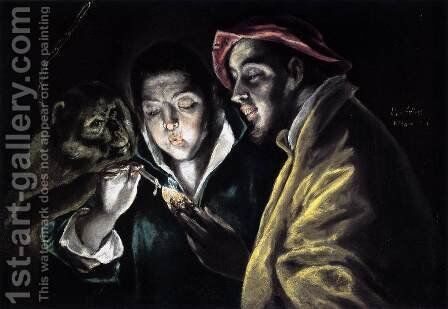 An Allegory with a Boy Lighting a Candle in the Company of an Ape and a Fool (Fábula) 1577-79 by El Greco - Reproduction Oil Painting