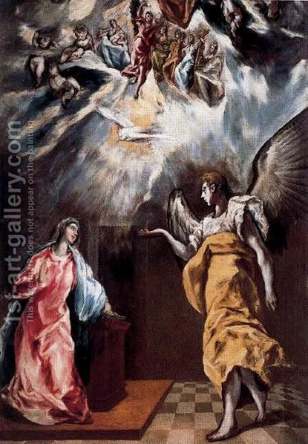 Annunciation 1608-14 by El Greco - Reproduction Oil Painting