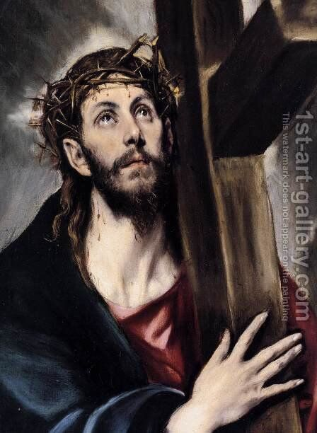 Christ Carrying the Cross (detail) 1580s by El Greco - Reproduction Oil Painting
