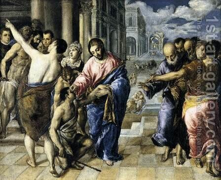 Christ Healing the Blind 1570-75 by El Greco - Reproduction Oil Painting