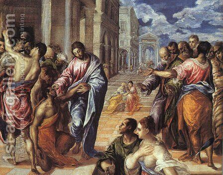 Christ Healing the Blind 1570s by El Greco - Reproduction Oil Painting