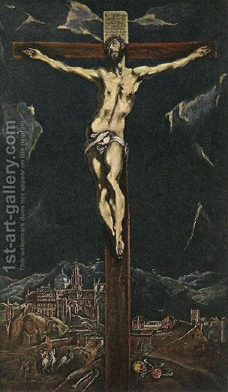 Christ in Agony on the Cross 1600s by El Greco - Reproduction Oil Painting