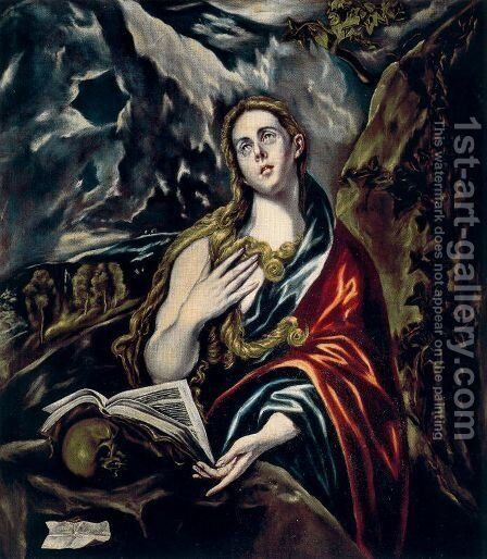 Penitent Magdalen 1605-10 by El Greco - Reproduction Oil Painting