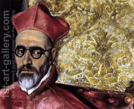 Portrait of a Cardinal (detail) c. 1600 by El Greco - Reproduction Oil Painting