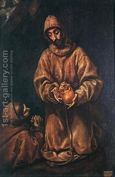 St Francis and Brother Rufus 1600-06 by El Greco - Reproduction Oil Painting