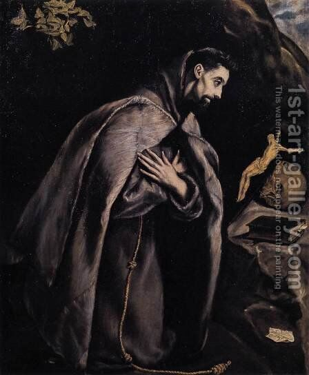 St Francis in Prayer before the Crucifix 1585-90 by El Greco - Reproduction Oil Painting