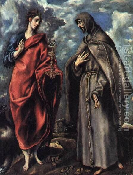 St John the Evangelist and St Francis c. 1608 by El Greco - Reproduction Oil Painting