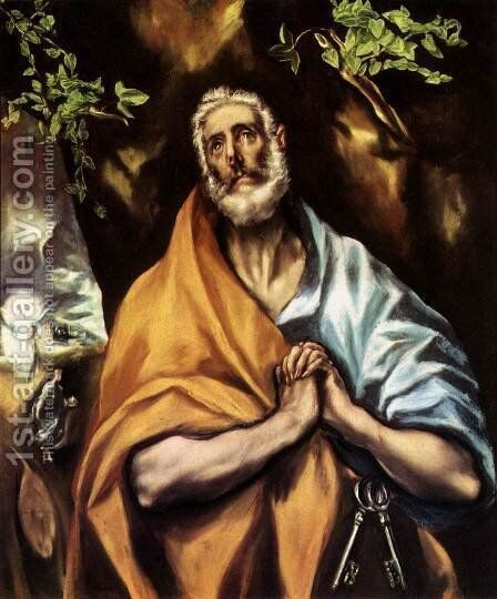 St Peter in Penitence c. 1605 by El Greco - Reproduction Oil Painting