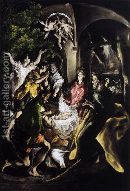 The Adoration of the Shepherds c. 1610 by El Greco - Reproduction Oil Painting