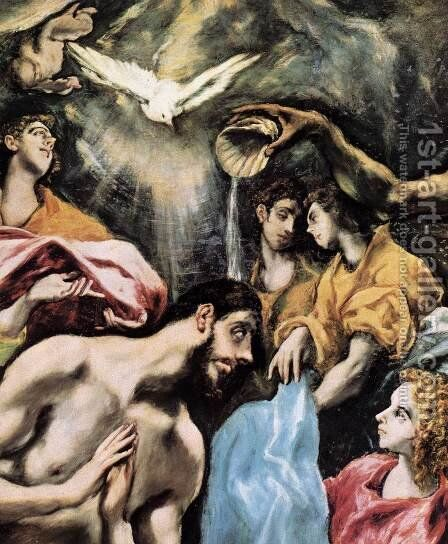 The Baptism of Christ (detail) 1608-28 by El Greco - Reproduction Oil Painting