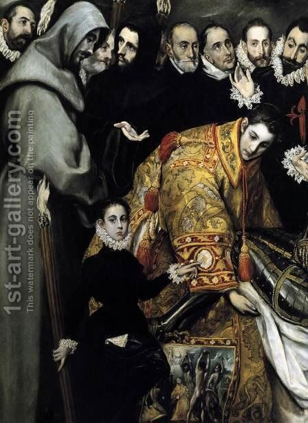The Burial of the Count of Orgaz (detail 3) 1586-88 by El Greco - Reproduction Oil Painting
