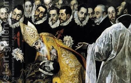 The Burial of the Count of Orgaz (detail 6) 1586-88 by El Greco - Reproduction Oil Painting