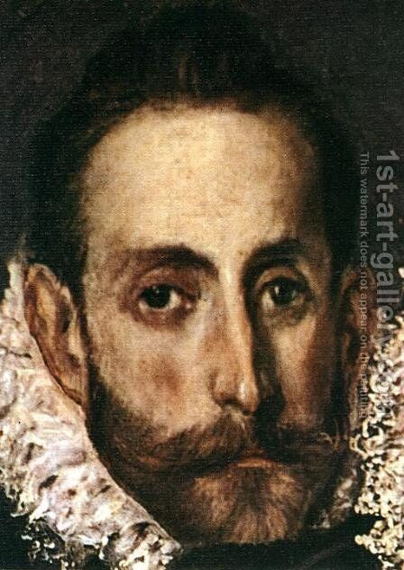 The Burial of the Count of Orgaz (detail 7) 1586-88 by El Greco - Reproduction Oil Painting