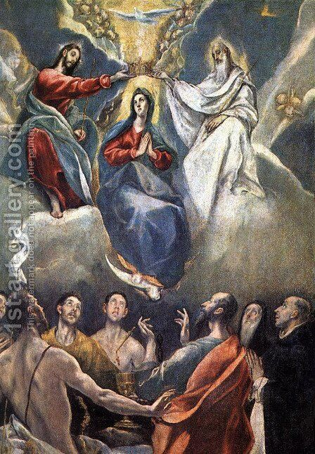 The Coronation of the Virgin (2)  1591 by El Greco - Reproduction Oil Painting