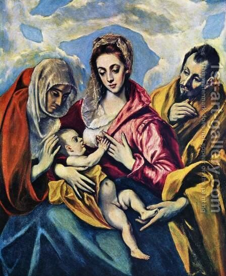 The Holy Family c. 1595 by El Greco - Reproduction Oil Painting