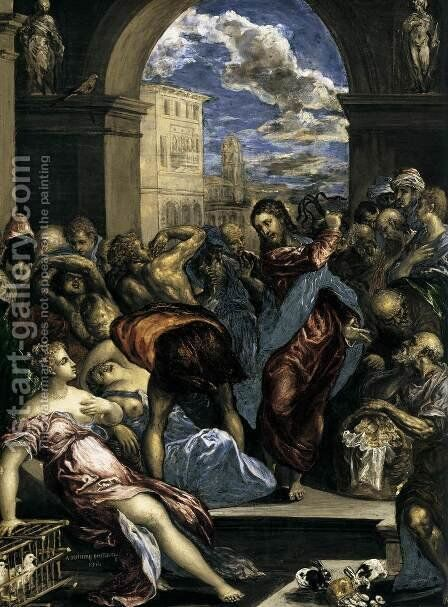 The Purification of the Temple (detail) c. 1570 by El Greco - Reproduction Oil Painting