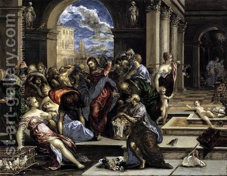 The Purification of the Temple c. 1570 by El Greco - Reproduction Oil Painting