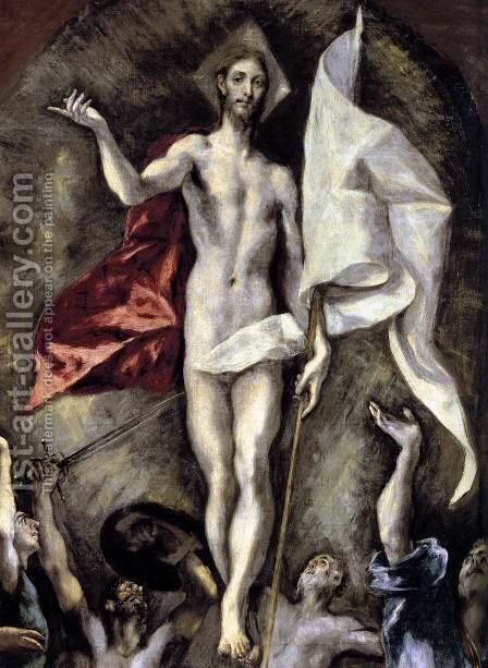 The Resurrection (detail 1) 1596-1600 by El Greco - Reproduction Oil Painting