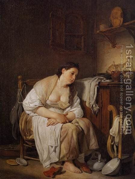 Indolence (La Paresseuse Italienne) 1756 by Jean Baptiste Greuze - Reproduction Oil Painting