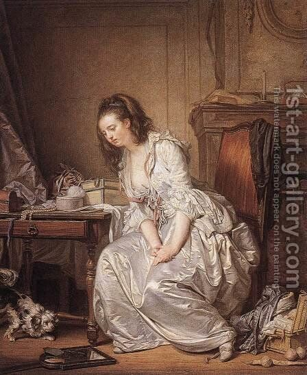 The Broken Mirror 1763 by Jean Baptiste Greuze - Reproduction Oil Painting