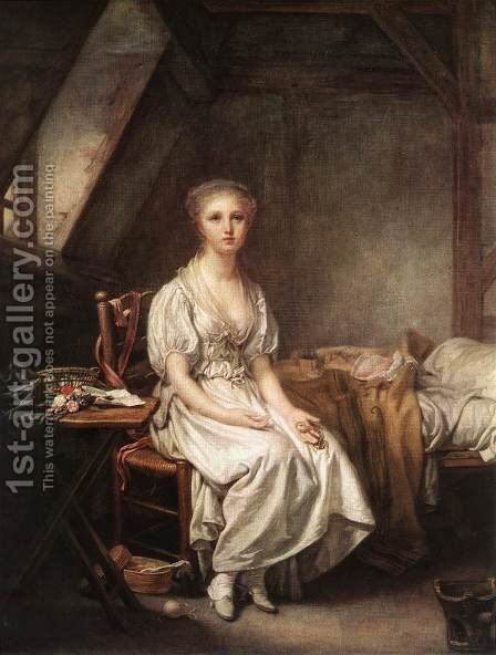 The Complain of the Watch 1770s by Jean Baptiste Greuze - Reproduction Oil Painting