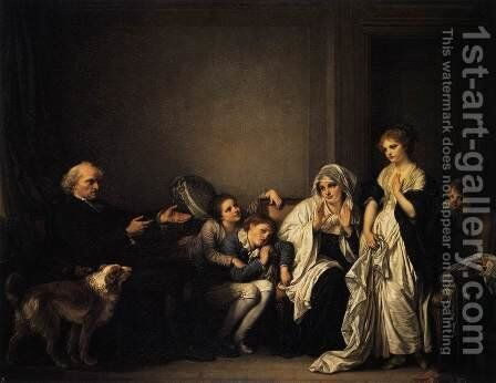 The Widow and Her Priest 1784 by Jean Baptiste Greuze - Reproduction Oil Painting