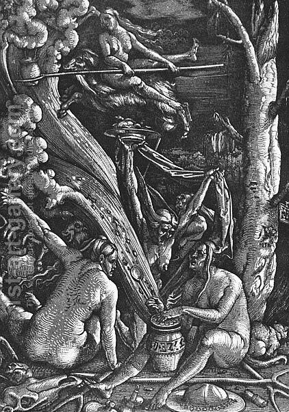 Witches Sabbath  1510 by Hans Baldung  Grien - Reproduction Oil Painting