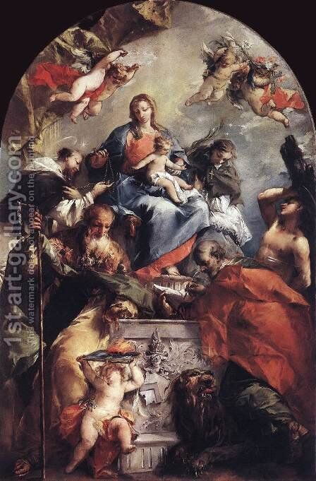 Madonna and Child with Saints 1746-48 by Giovanni Antonio Guardi - Reproduction Oil Painting