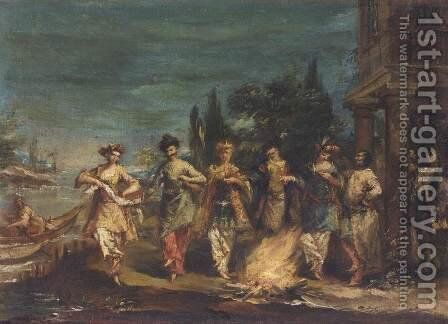 Three Couples in Exotic Dress Dancing in front of a Fire 1742-43 by Giovanni Antonio Guardi - Reproduction Oil Painting