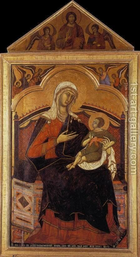 Virgin and Christ Child Enthroned 1270s by Guido Da Siena - Reproduction Oil Painting