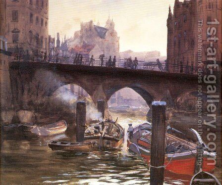 Canal Scene by Bernhard Gutmann - Reproduction Oil Painting