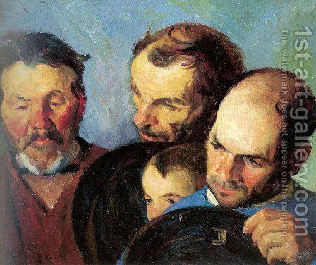 Heads of Three Men and a Boy by Bernhard Gutmann - Reproduction Oil Painting