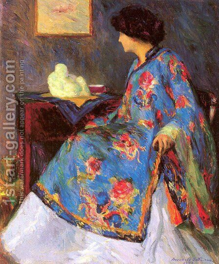 Lady in a Chinese Silk Jacket 1909 by Bernhard Gutmann - Reproduction Oil Painting